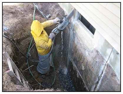 This is the removal of foundation for the layout of the egress window well