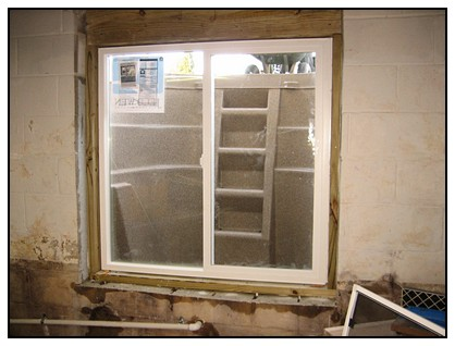 This is an interior view of the egress window
