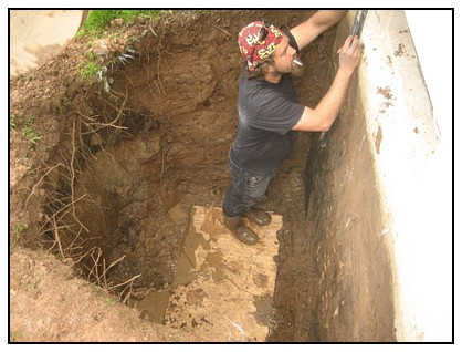 This is an Egress Systems, Inc. worker marking foundation