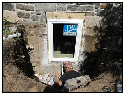 This is the egress window door installation