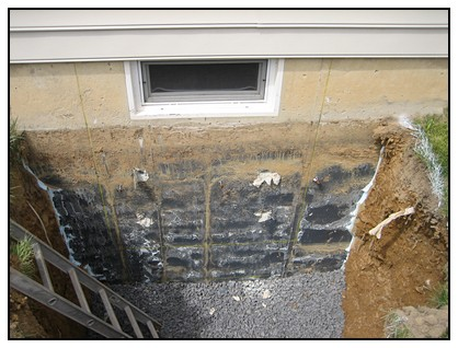 This is the view of the egress window layout with dirt removed