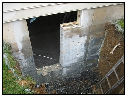Cut out for creating the egress window well in the foundation