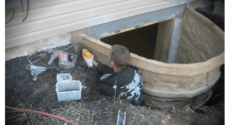 This is the Egress Well being installed to the foundation wall