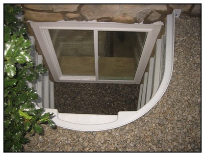 This is a top view of an egress window