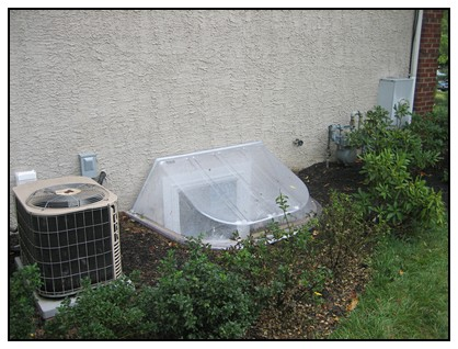 This is an exterior view of an egress window well