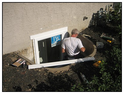 This is the addition of a door for the egress window well