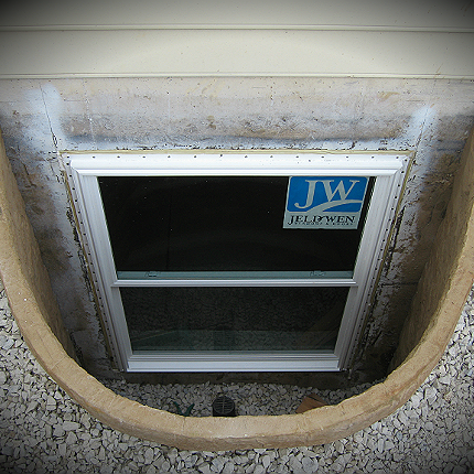 This is a top view of a finished egress window