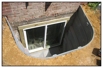 This is a view of a egress window well with no cover