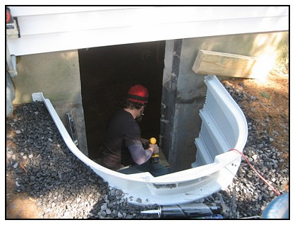 This is the installation of the egress window