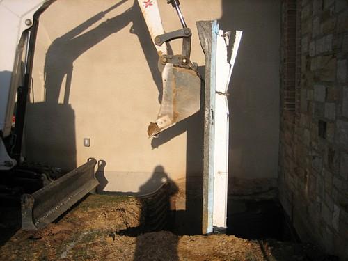 Crane working on basement
