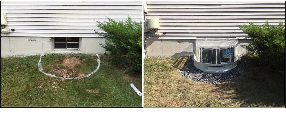 This is a before and after of installing an egress window
