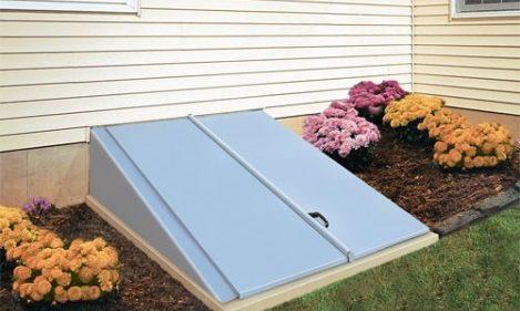 Blue Bilco Permentry basement door