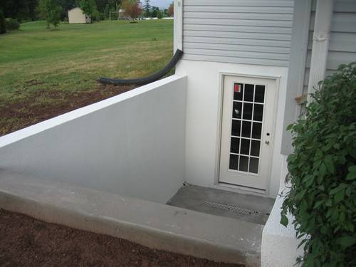 This is a single door custom basement entrance