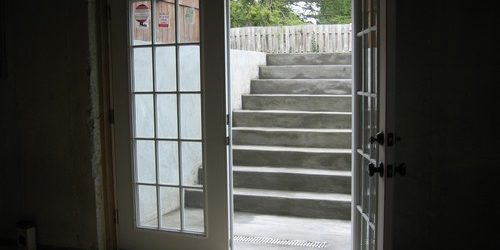 This is a custom basement exit and entrance