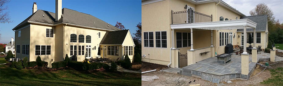 The comparison of the house before and being installing permentry egress