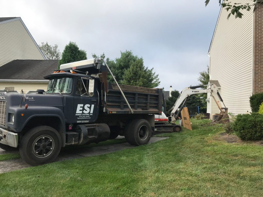 Construction vehicles for egress installation