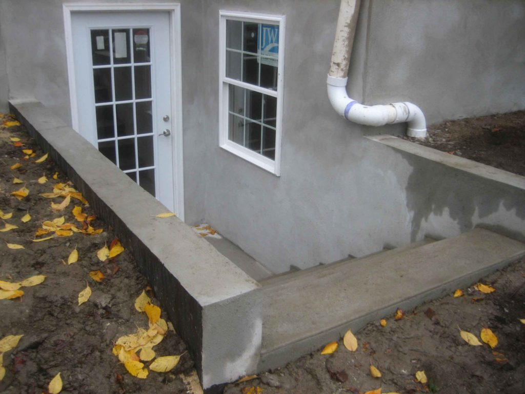 The completed basement escape stairs for customer in Sellersville