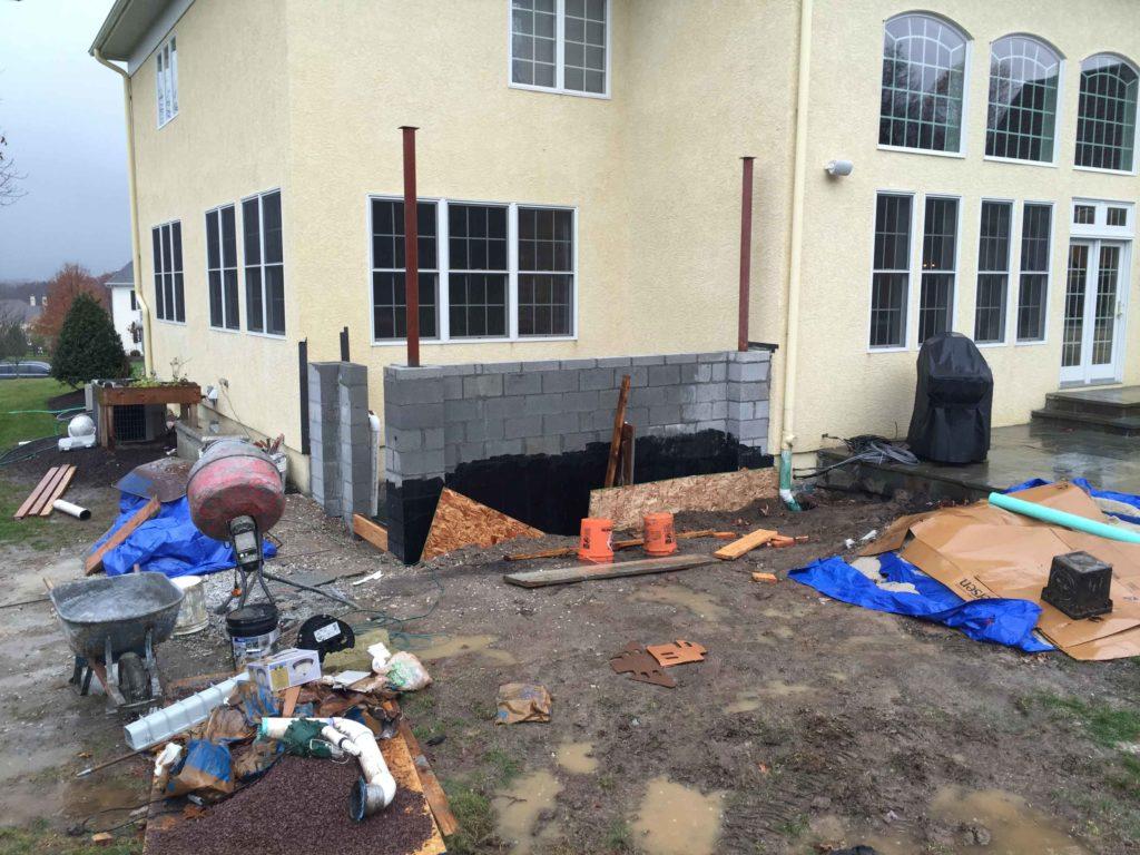 The construction scene of customer's house permentry egress