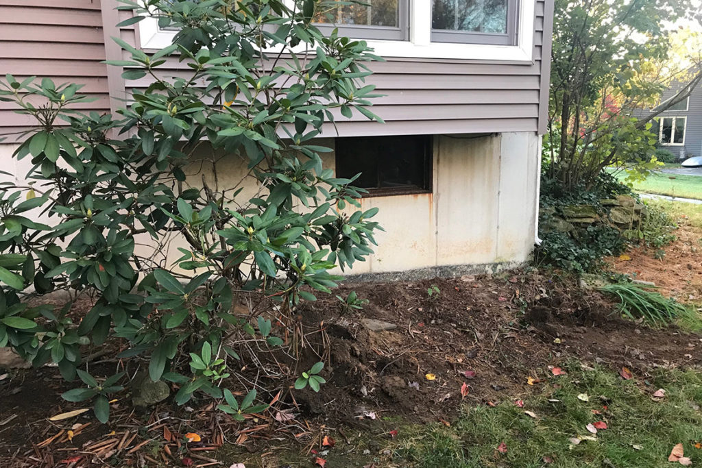 Before installation of a 5 foot wide, egress compliant, slider window under a box bay window in WOODSTOCK LANE, WEST CHESTER, PA