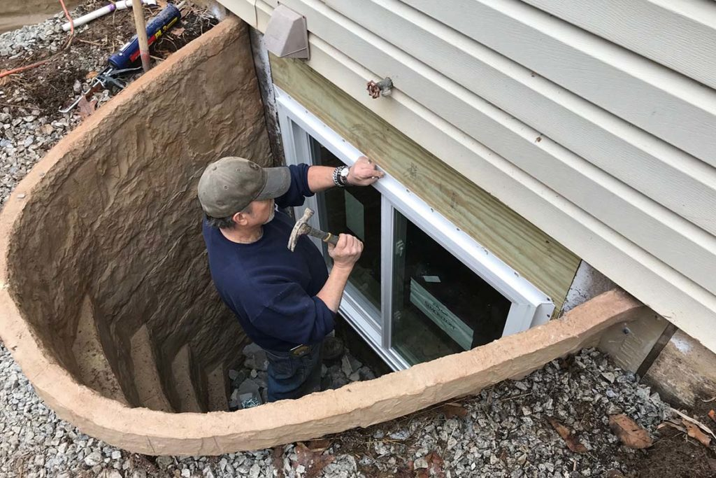 In process to install two Rockwell Elite egress systems with Simonton horizontal slider windows in TYSON ROAD, SCHWENKSVILLE